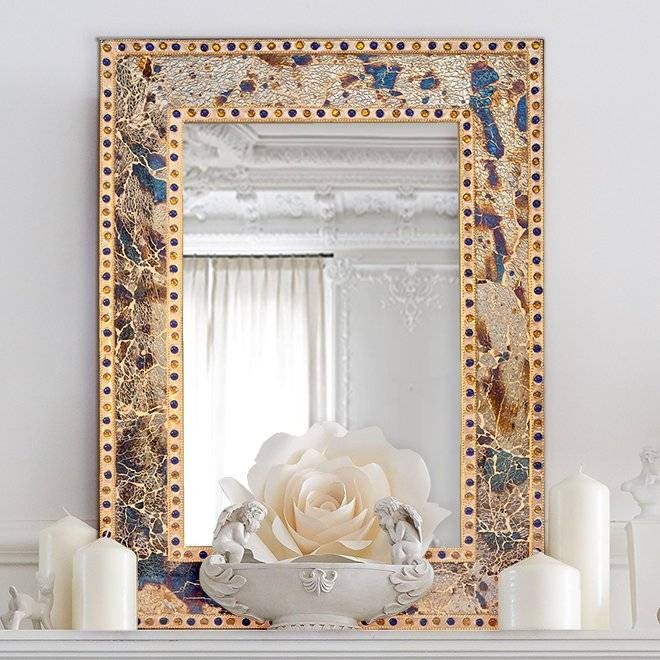 Decorshore Decorative Crackled Glass Mosaic Wall Mirror & Reviews Inside Glass Mosaic Wall Mirrors (View 11 of 15)
