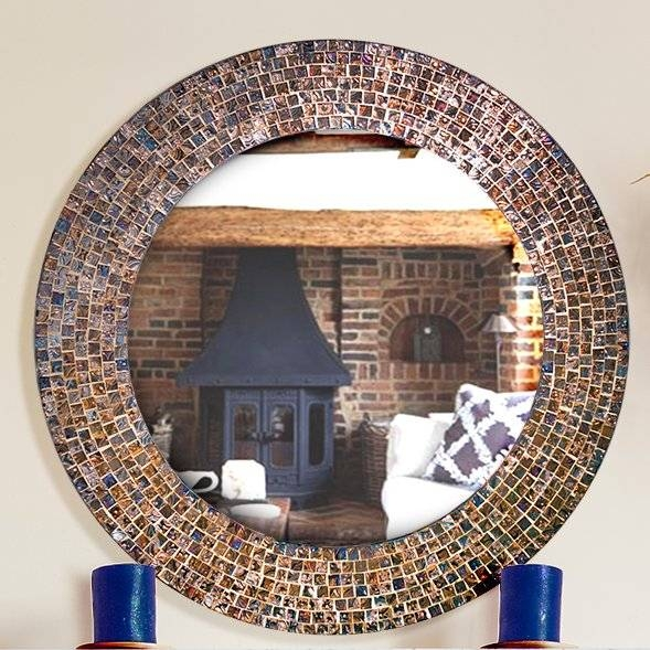 Decorshore Decorative Embossed Glass Mosaic Tile Wall Mirror Throughout Glass Mosaic Wall Mirrors (View 4 of 15)