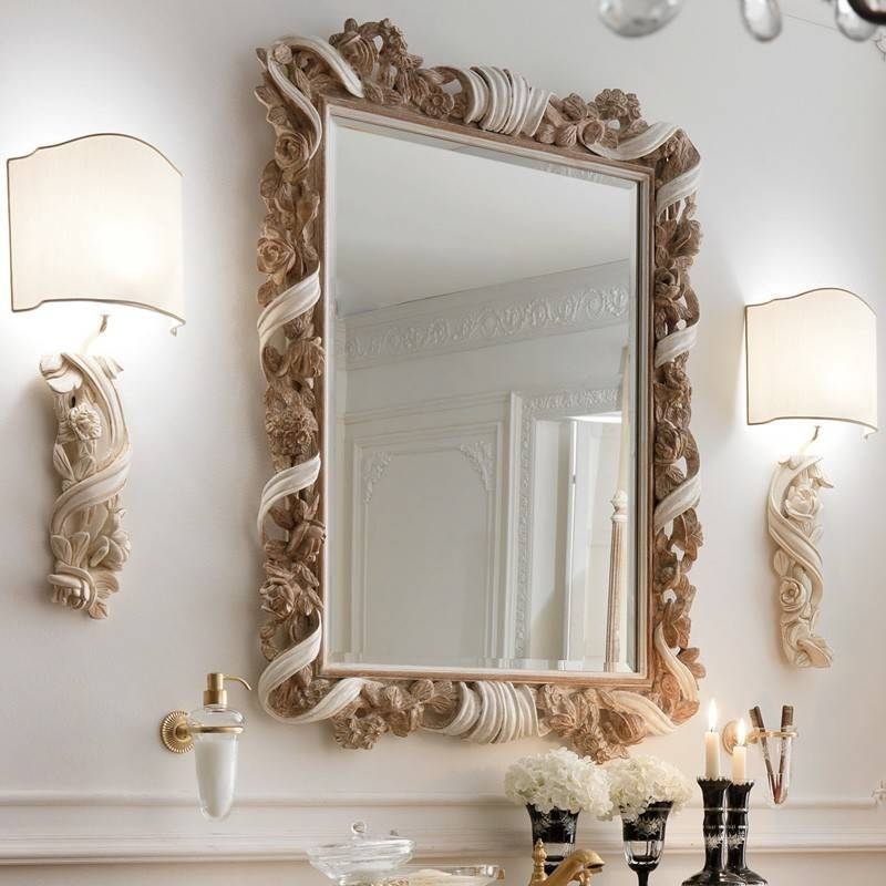 Designer Italian Wooden Rose And Ribbon Wall Mirror | Juliettes Intended For Italian Wall Mirrors (#5 of 15)