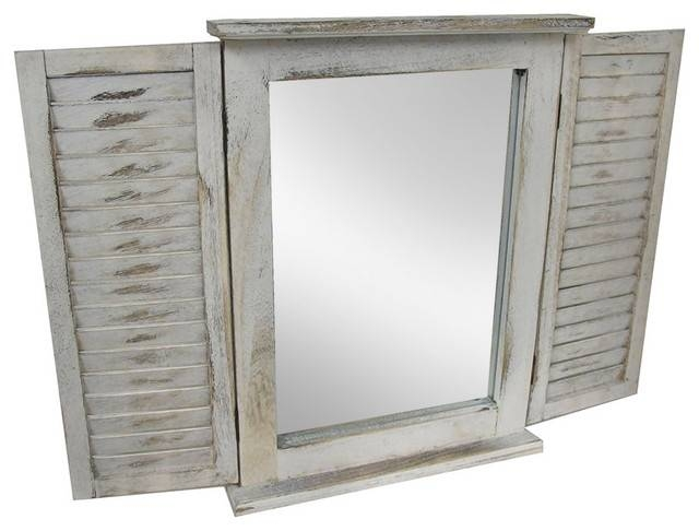 Distressed Finish White Wooden Shutter Wall Mirror – Beach Style Throughout Distressed White Wall Mirrors (#5 of 15)