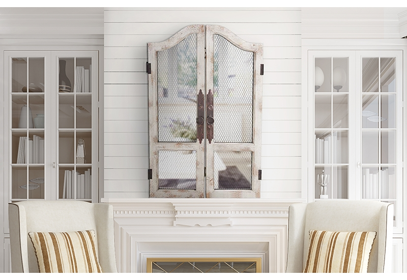 Distressed, Rustic, White, Wood, Wooden, Chicken Wire, Wall Art Pertaining To Distressed White Wall Mirrors (#7 of 15)