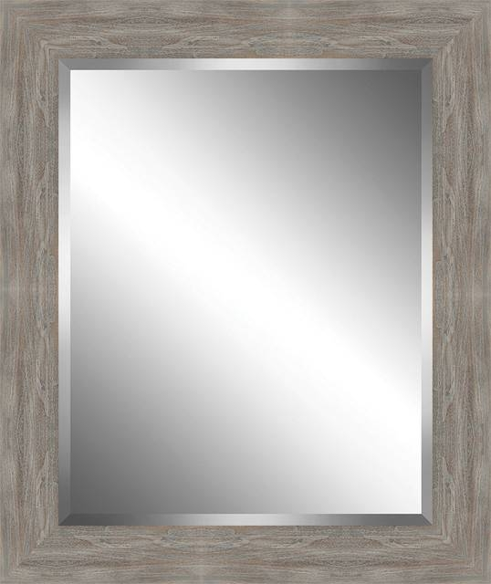 Distressed, Rustic Wood Framed Beveled Plate Glass Mirror Pertaining To Distressed Wood Wall Mirrors (View 11 of 15)