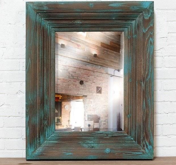Distressed Wood Framed Mirror | Large Wood Framed Wall Mirror Within Blue Framed Wall Mirrors (#5 of 15)