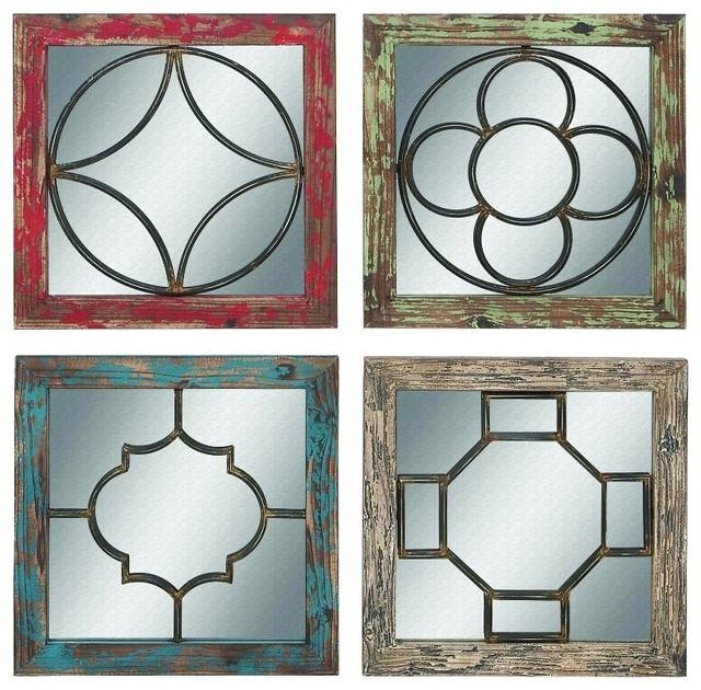 Distressed Wooden Metal Mirrors, Set Of 4 – Traditional – Wall Pertaining To Wall Mirror Sets Of (View 15 of 15)