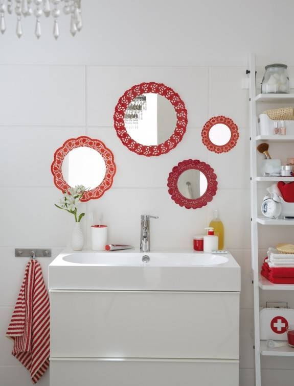 Diy Bathroom Decor Ideas Budget Wall Mirrors Red Doilies Frames – Within Small Decorative Wall Mirrors (View 15 of 15)