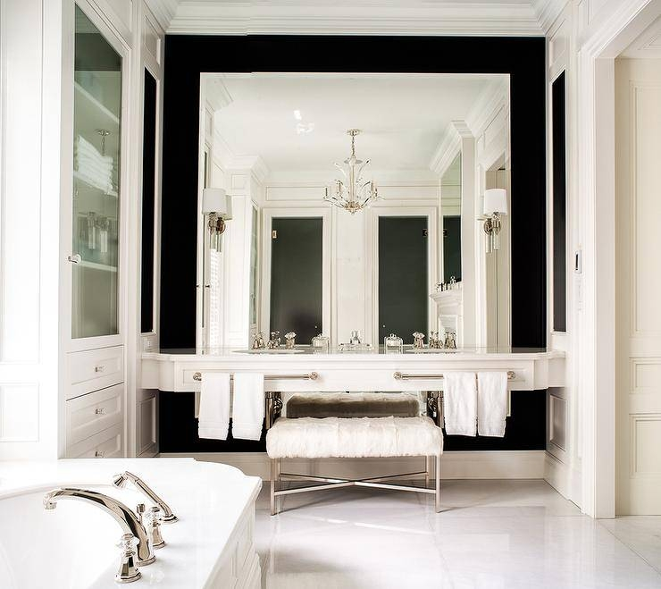 Double Floating Washstand Lining Full Length Mirror – Transitional Inside Full Wall Mirrors (View 15 of 15)