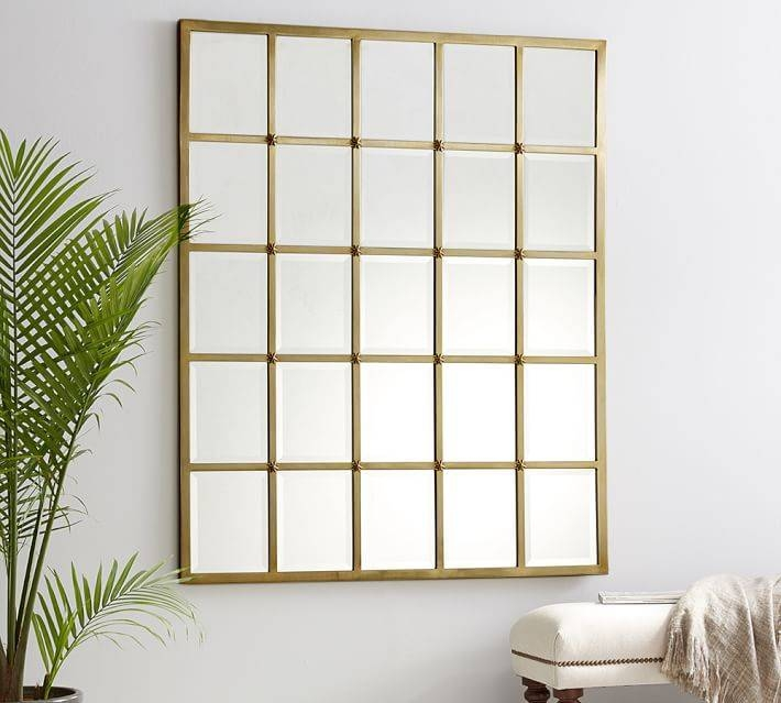 Eagan Multipanel Large Mirror – Brass | Pottery Barn Throughout Multi Panel Wall Mirrors (#3 of 15)