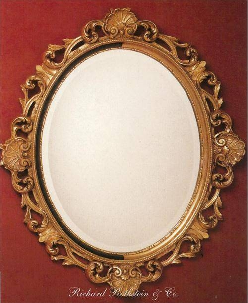 Elegant French Style Ornate Gold Oval Mirror From Richard Rothstein In Gold Oval Mirrors (#5 of 15)