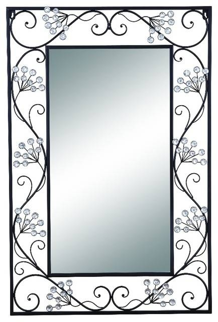 Elegant Mirror Black Metal Frame Scroll Work Wall Accent Home Pertaining To Wrought Iron Wall Mirrors (#8 of 15)