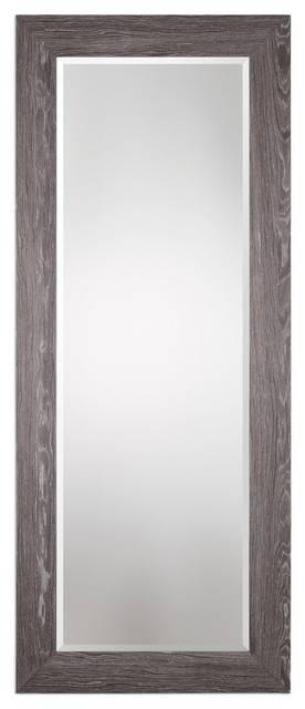 "Elegant Tall Gray Wood 82"" Wall Mirror, Full Length Leaner Regarding Tall Wall Mirrors (#7 of 15)"