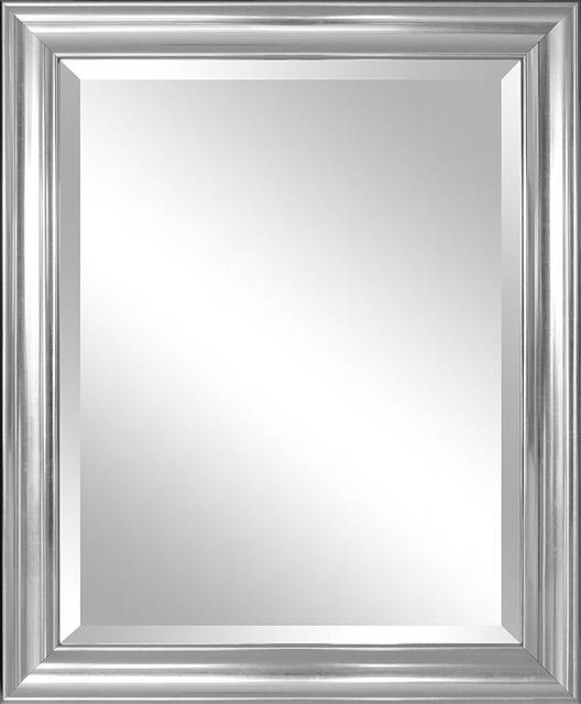 Elevation Wall Mirror With Bevel – Transitional – Wall Mirrors With Regard To Silver Wall Mirrors (#5 of 15)