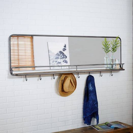 Entryway Mirror + Hooks – Large | West Elm For Wall Mirrors With Shelf And Hooks (#6 of 15)