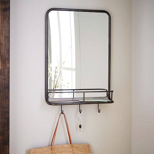 Entryway Mirror + Hooks | West Elm With Regard To Wall Mirrors With Shelf And Hooks (#7 of 15)