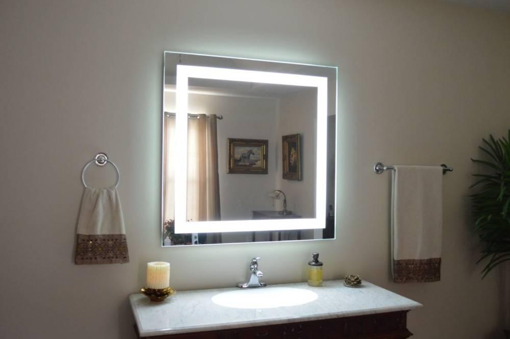 Eterna Light Up Led Clock Smart Bathroom Makeup Wall Mirror – Buy Regarding Light Up Wall Mirrors (#8 of 15)