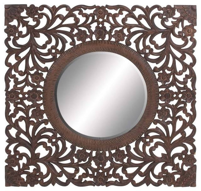 Ethnic Circular Shaped Mirror With Beautifully Carved Wooden Frame In Ethnic Wall Mirrors (#8 of 15)