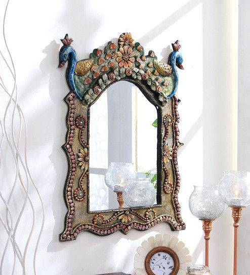Ethnic Wall Mirrors Multicolour Wooden Hand Crafted Painted Within Ethnic Wall Mirrors (#12 of 15)