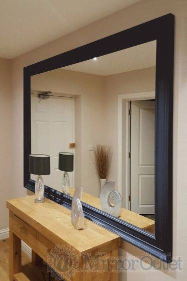 Extra Large Black Wall Mirror Wooden Based Frame For Large Black Wall Mirrors (#8 of 15)