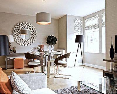 "Extra Large Modern Laviana Round Wall Mirror 48"" Linked Silver With Modern Round Wall Mirrors (#4 of 15)"