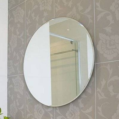 Fab Glass And Mirror Beveled Polished Frameless Wall Mirror With With Frameless Round Wall Mirrors (#10 of 15)