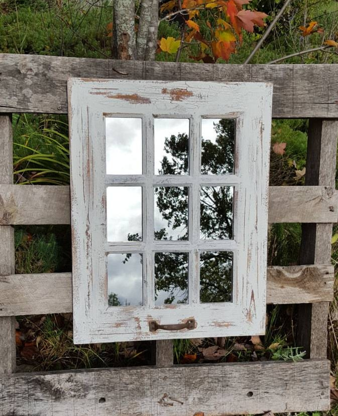Farmhouse Window Mirror / Shabby Chic Mirror / Large With Regard To Distressed White Wall Mirrors (#8 of 15)