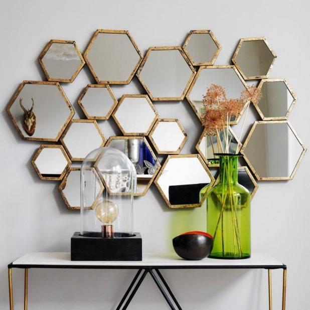 Fascinating Hexagon Wall Mirror 63 Hexagon Shaped Wall Mirror Throughout Hexagon Wall Mirrors (View 5 of 15)