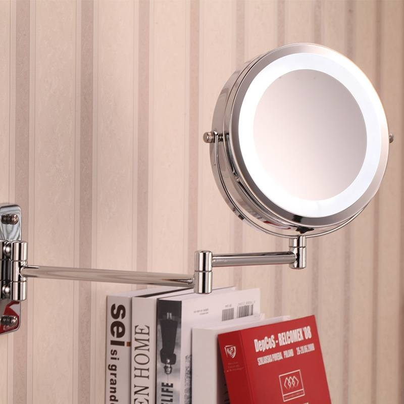 Fashion 7 Inch Battery Led Bathroom Wall Mirror Dual Arm Extend 2 Inside Extending Wall Mirrors (#7 of 15)