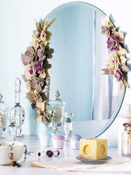 Felt Flowers For Decorating Wall Mirrors With Romantic Details With Regard To Flower Wall Mirrors (#8 of 15)