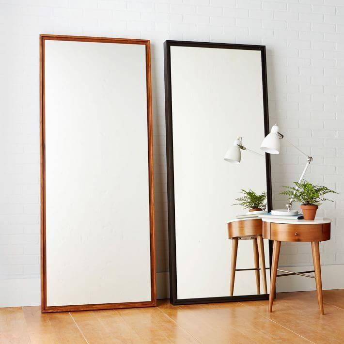 Floating Wood Floor Mirror | West Elm Inside Floor To Wall Mirrors (#14 of 15)