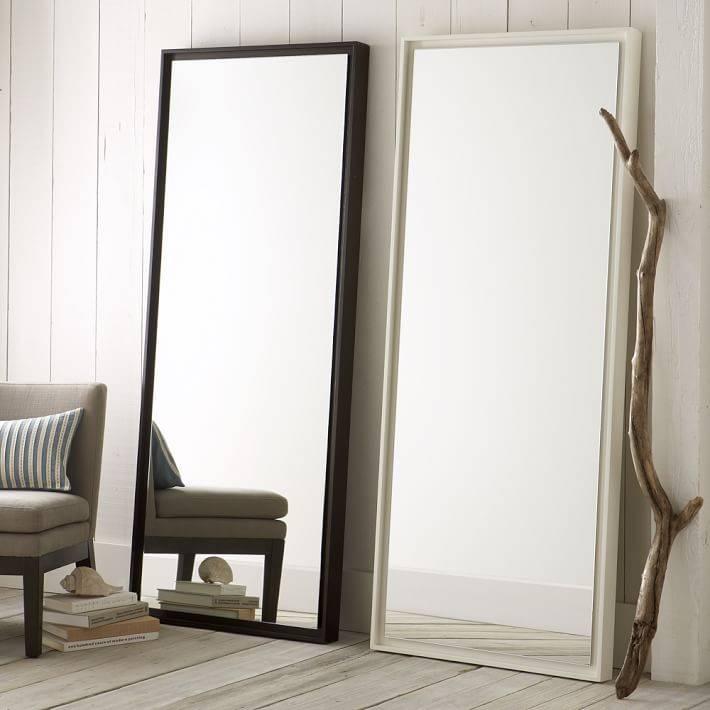 Floating Wood Floor Mirror | West Elm Throughout Floor Wall Mirrors (#13 of 15)