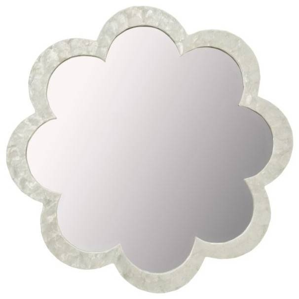 Flower Capiz Seashell Wall Mirror, Natural White – Beach Style Throughout Flower Wall Mirrors (#9 of 15)
