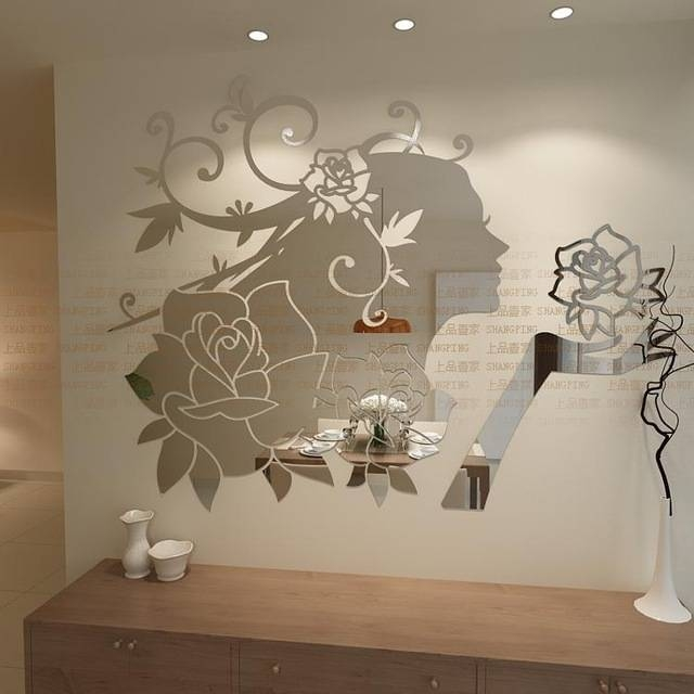 Flower Fairy 3D Three Dimensional Cartoon Acrylic Mirror Surface Within Wall Mirror Stickers (#6 of 15)