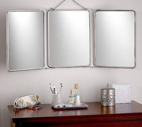 Fold Silver Mirror Intended For Tri Fold Wall Mirrors (#6 of 15)