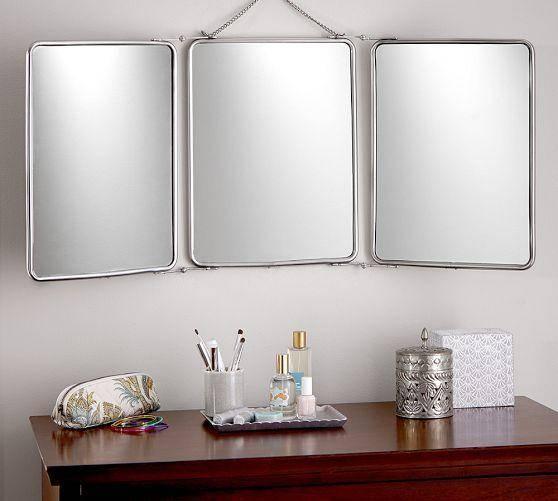 Fold Silver Mirror With Tri Fold Bathroom Wall Mirrors (#8 of 15)