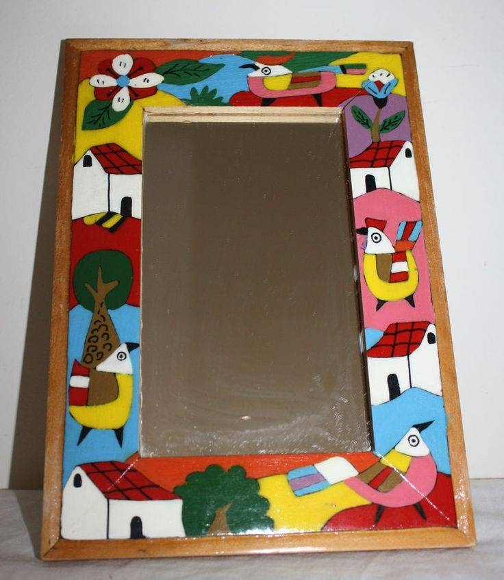"Folk Art Framed Wall Mirror Mexico Hand Painted 7"" X  (#5 of 15)"