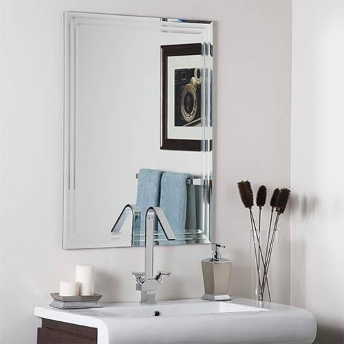 Frameless Tri Bevel Wall Mirror Decor Wonderland Wall Mirror Pertaining To Frameless Beveled Wall Mirrors (#12 of 15)