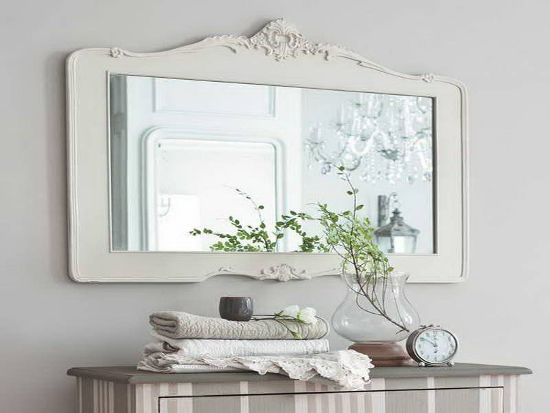 15 best collection of large white framed wall mirrors for Large white framed mirror