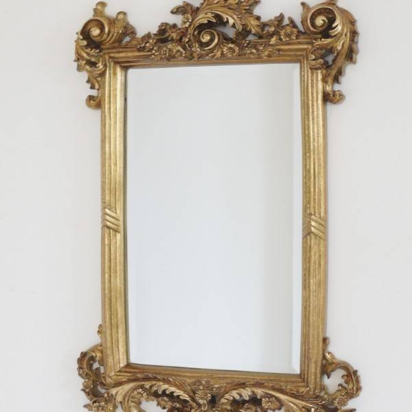 French Baroque Style Ornate Carved Antique Gold Wall Mirror Height In Antique Gold Wall Mirrors (#9 of 15)