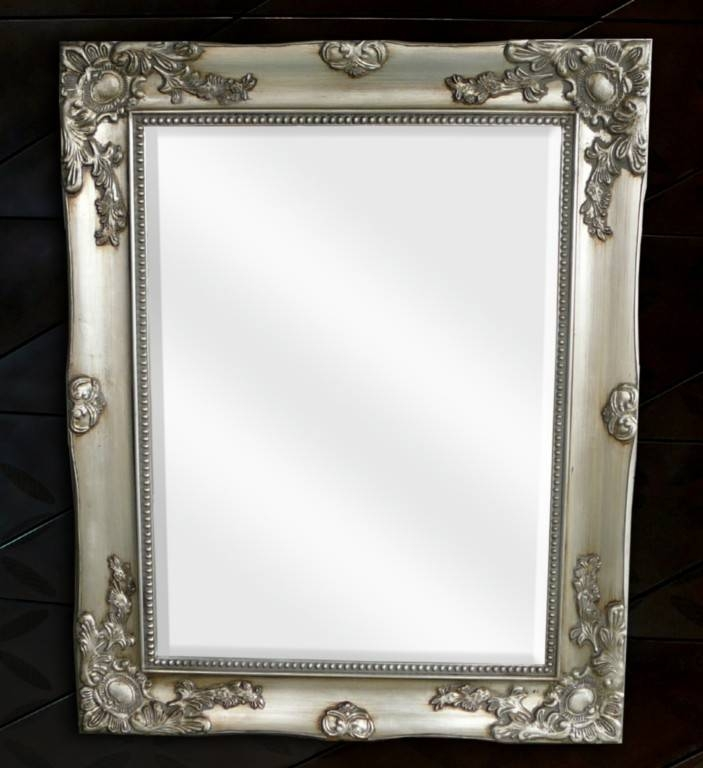French Provincial Silver Pewter Wall Mirror | Rustique Regarding Pewter Wall Mirrors (#7 of 15)