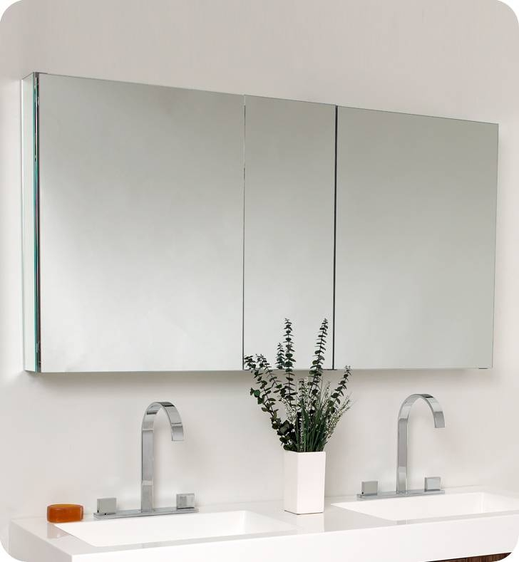 Fresca Opulento Walnut Modern Double Sink Bathroom Vanity W With Regard To Bathroom Vanity Mirrors With Medicine Cabinet (#14 of 15)
