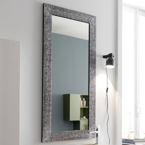 Full Length Decorative Wall Mirrors Beads Decor Large Square Grey Regarding Vertical Wall Mirrors (#6 of 15)