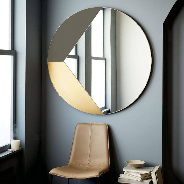 Geo Shapes Wall Mirror | West Elm With Regard To Big Round Wall Mirrors (#9 of 15)