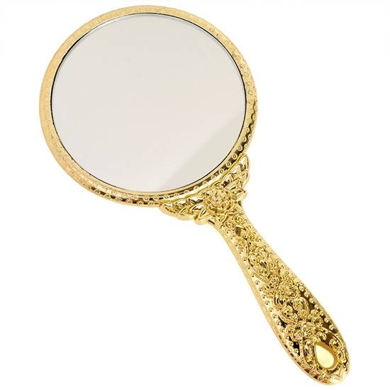 Girls Small Decorative Vintage Antique Style Gold Hand Held Vanity Throughout Decorative Hand Mirrors (#11 of 15)