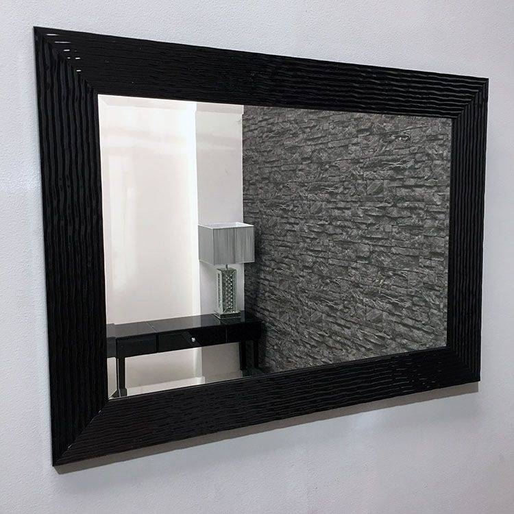 Gloss Black Framed Galaxy Wall Mirror 93X68Cm | Exclusive Mirrors Intended For Black Framed Wall Mirrors (#12 of 15)