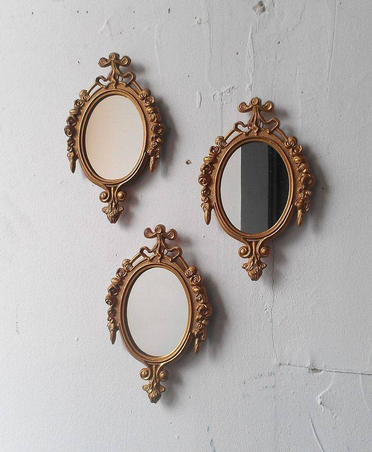 Inspiration about Gold Framed Mirror Set Of Three In Small Ornate Vintage Frames With Regard To Small Gold Wall Mirrors (#3 of 15)