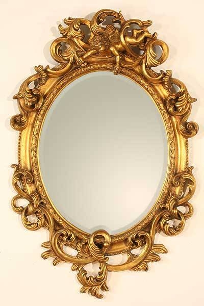 Gold Oval Mirror With Cherub | French Mirror Company Regarding Gold Oval Mirrors (#7 of 15)