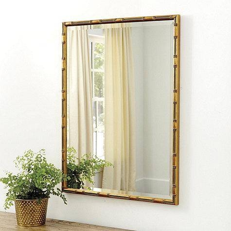 Inspiration about Gold Rectangle Rounded Edges Mirror Regarding Bamboo Framed Wall Mirrors (#11 of 15)