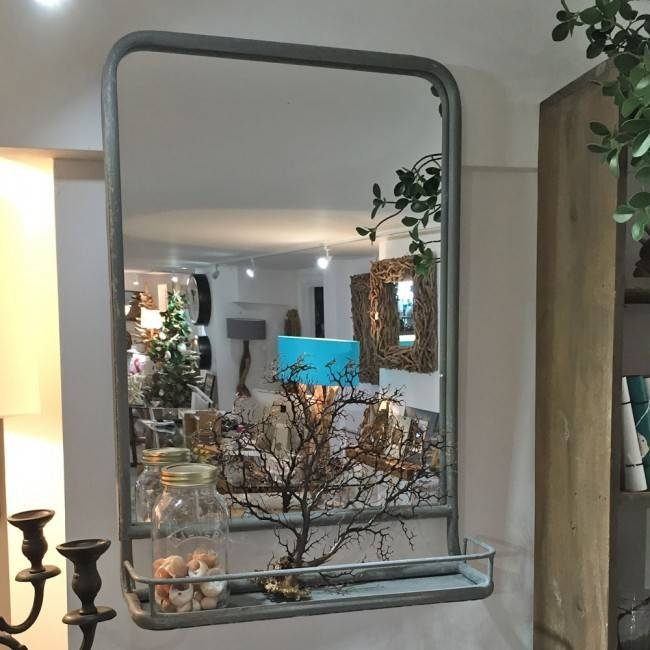 Inspiration about Grey Metal Framed Wall Mirror With Shelf | Doris In Brixham, Devon Inside Wall Mirrors With Shelf (#15 of 15)