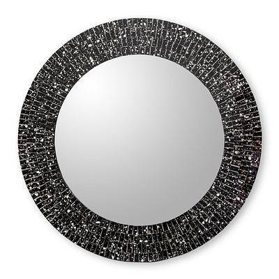 Hand Crafted Black Glass Mosaic Round Wall Mirror – Round Black Regarding Black Round Wall Mirrors (#7 of 15)