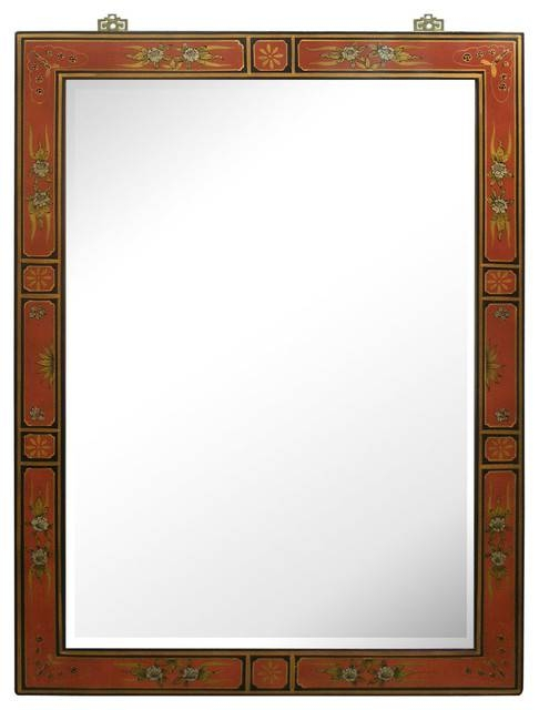 Hand Painted Tibetan Design Mirror – Asian – Wall Mirrors – With Regard To Hand Painted Wall Mirrors (#10 of 15)
