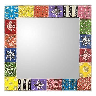 Hand Painted Wall Mirror – Happy Colors | Novica Intended For Hand Painted Wall Mirrors (#7 of 15)